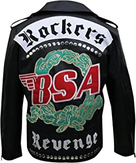 Marche Sydney - BSA Rockers Revenge George Michael Faith Men's Biker Leather Jacket (L, Synthetic Leather) Black