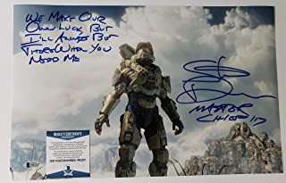Steve Downes autographed 11x17 Photograph Microsoft XBox Halo Master Chief Voice Actor with Inscription Beckett