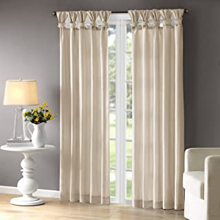 Madison Park Emilia Room-Darkening Curtain DIY Twist Tab Window Panel Black-Out Drapes for Bedroom and Dorm, 50x95, Champagne