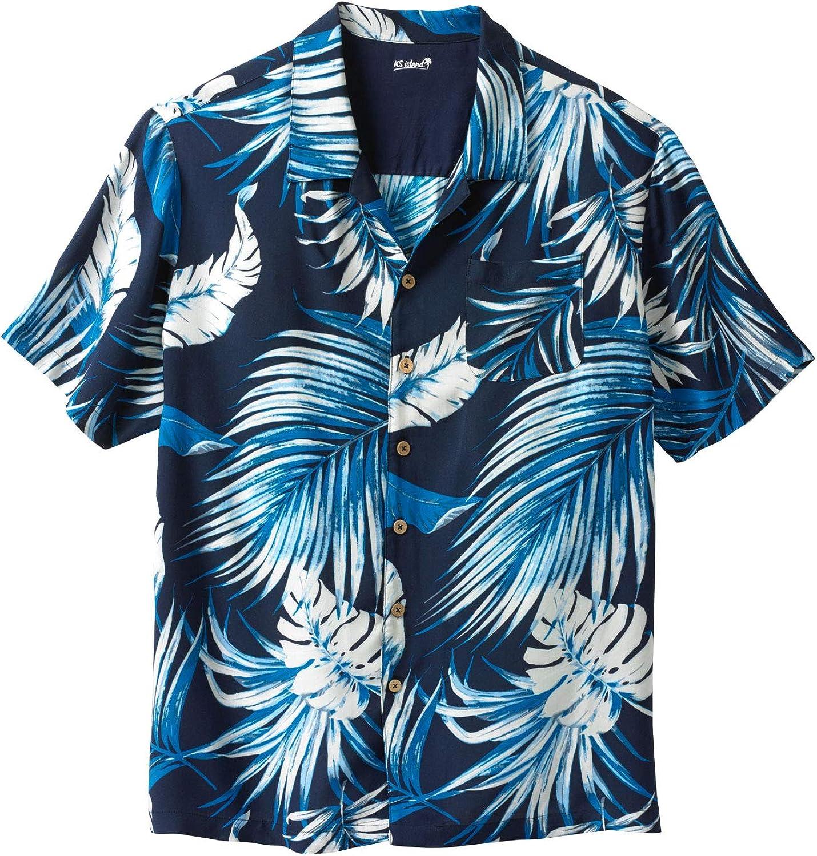 KS Island by Kingsize Men's Big & Tall Tropical Rayon Short-Sleeve Shirt - Big - 3XL, Navy Palm