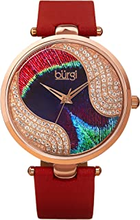 Burgi Unique Swarovski Crystal Peacock Feather Pattern Watch - Sparkling Crystal Colorful Dial and Case on Genuine Leather...