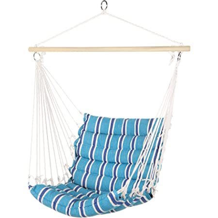 Best Choice Products Indoor Outdoor Padded Hanging Cotton Hammock Chair W 40in Wooden Spreader Bar Blue Garden Outdoor