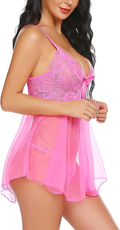 Avidlove Women Lingerie Babydoll Lace Nightgown Mesh Chemise Boudoir Nighty