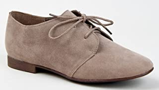 Breckelle's SANDY-31 Basic Classic Lace Up Flat Oxford Shoe Tan