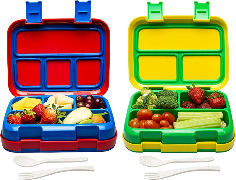 Bizz Large Travel Bento Box Set Lunch Boxes With Utensils Removable Microwaveable Dishwasher Safe Tray 2 Pack Lunchbox Portable Portion Control Meal Prep Containers Reusable BPA Free Adults Kids