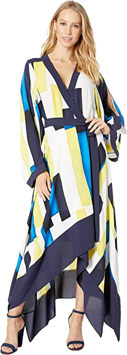 Color Blocked Handkerchief Wrap Dress