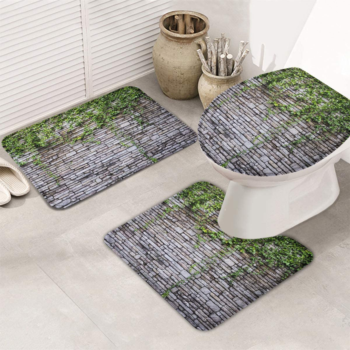 Fangship 3 Piece Bathroom Rugs Set Non Free shipping anywhere in the nation Mats Sl for Bath Credence