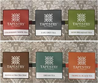 Tapestry Tea Sampler Assorted Specialty Teas Gift Pouch and Coaster - 6 Pack