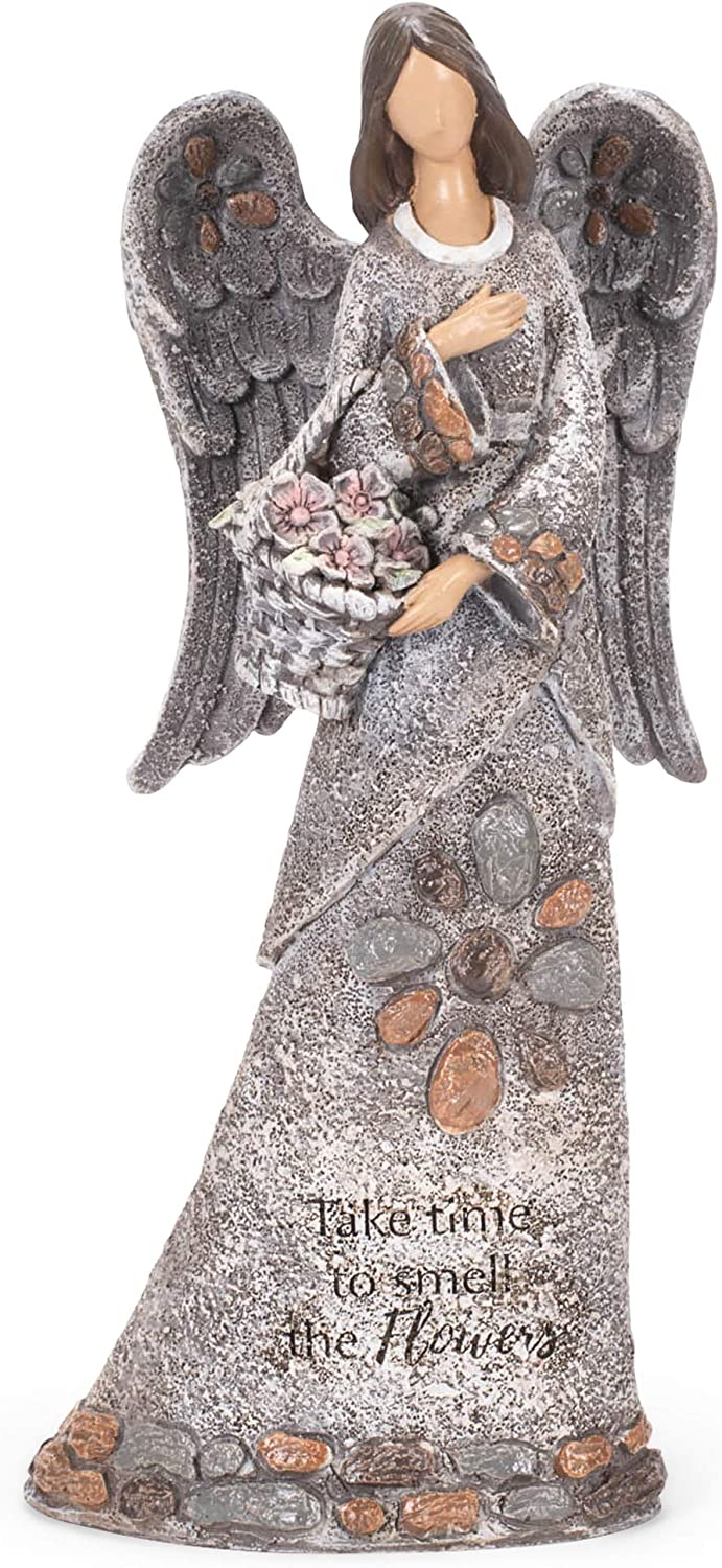 Many popular brands Roman 14-inch High Angel with Statue Garden Max 85% OFF Basket Pebble