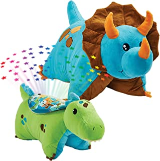 Pillow Pets Dinosaur Slumber Pack - Blue Dino Classic & Green Dino Sleeptime Lites, Multicolor