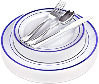Fancy Disposable Plates with Cutlery 125 Piece Blue Plastic Plates and Silver Plastic Cutlery for Weddings, Receptions, Buffets - Service for 25 Guests Disposable Plates for Party (Blue Rim)