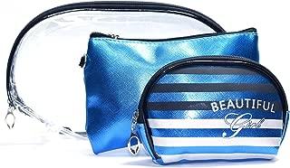 Color Fever 3 pc Women's Multi Purpose Makeup Bag/Vanity Pouch/Cosmetic Travel Kit Organiser (Blue)