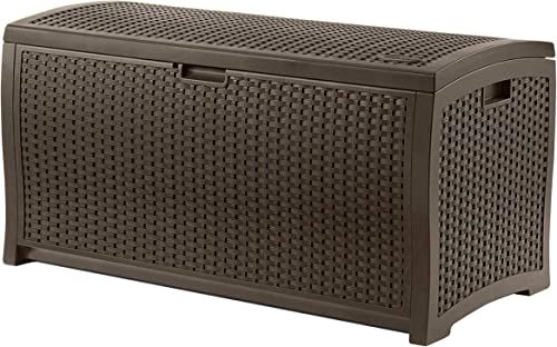 Suncast 99 Gallon Resin Wicker Patio Outdoor Storage Container for Toys, Furniture Deck box, Mocha