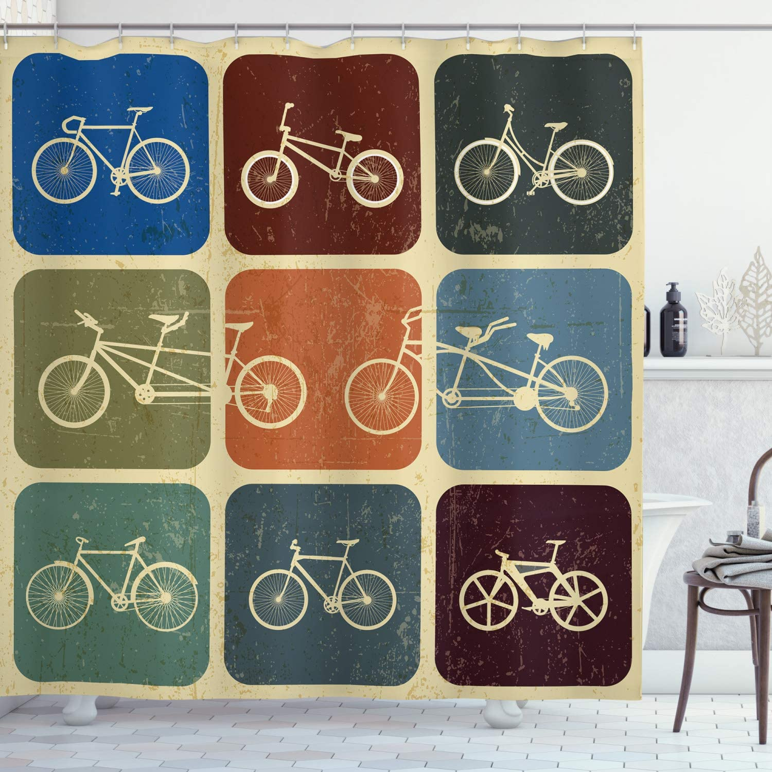 Ambesonne shopping OFFicial Vintage Shower Curtain Retro of Bicycle Collage Image