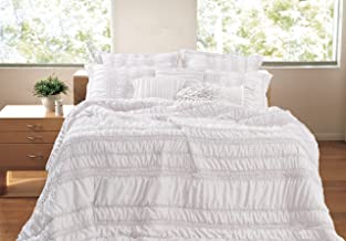 Greenland Home 4-Piece Tiana Bonus Bedding Set, Twin, White