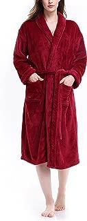 Women's Fleece Dressing Gown Robe Flannel Plush Soft Warm Bathrobe