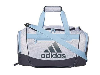 adidas Defender III Small Duffel (White Jersey/Onix/Glow Blue) Duffel Bags
