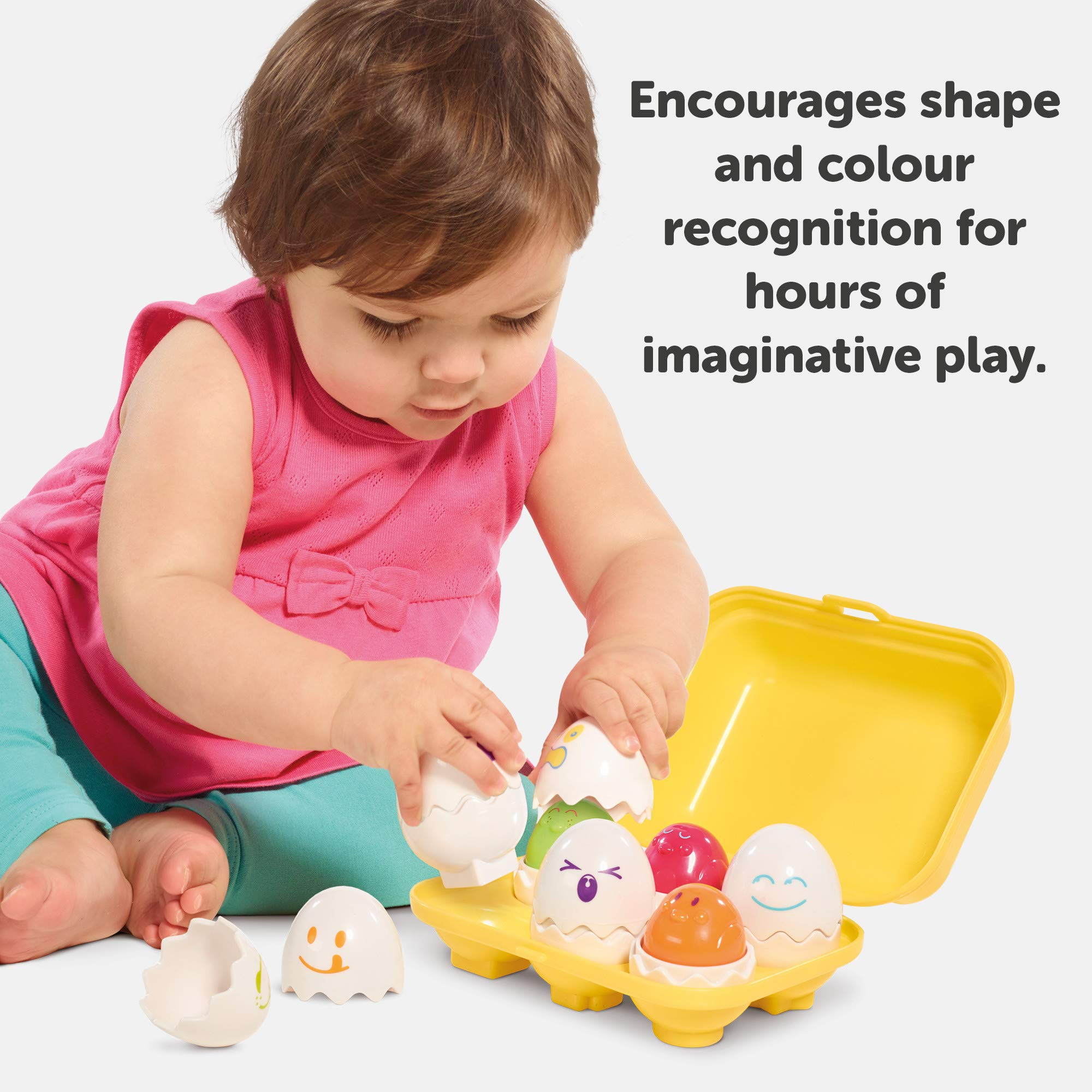 Hide n Squeak TOMY Eggs in Carton Toy Infant Shape and Mood Sorter Children Chicks Activity Learning Toddler Kids Easter Birthday Gift