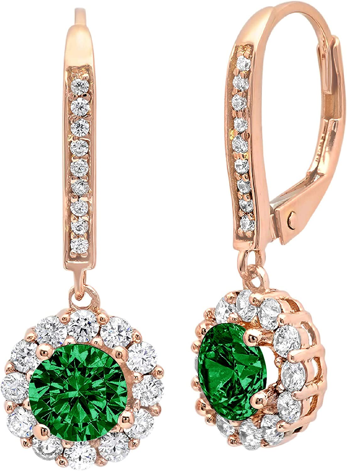 3.55 ct Brilliant Round Cut Halo Solitaire Flawless Genuine Simulated CZ Green Emerald Gemstone VVS1 Ideal Pair of Leverback Drop Dangle Designer Earrings Solid 14k Rose Pink Gold