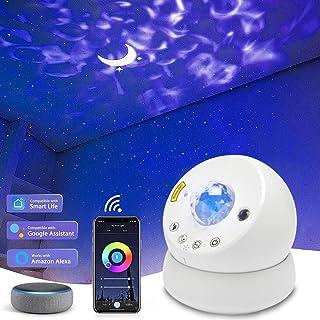 Projecteur de ciel étoilé à LED - Veilleuse pour chambre d'enfant - Motif lune et ciel étoilé - Avec minuterie et contrôle...