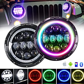 4XBEAM 7 Inch RGB Halo LED Headlights for Jeep Wrangler JK LJ TJ CJ Hummer H2 H1 Sahara Sport Rubicon | DOT Approved