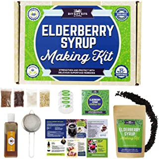 DIY Gift Kits Organic Elderberry Syrup Kit, Honey and Recipe Pack Makes 25+ Servings