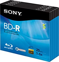 Sony 5BNR25R3H 6x 25GB Recordable Blu-Ray Disc - 5 Pack