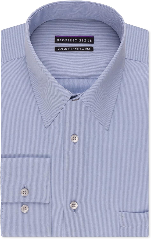 Geoffrey Beene Mens Bedford Button Up Dress Shirt, Blue, 18