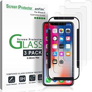 iPhone XS/X Screen Protector Glass (3-Pack), amFilm iPhone XS/X 0.26mm Tempered Glass Screen Protector with Easy Installation Tray for Apple iPhone XS/X / iPhone 10 (3-Pack)