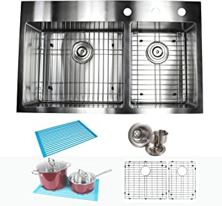 double bowl kitchen sink with drainer