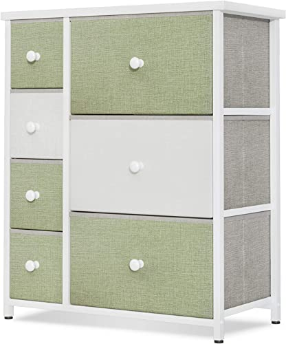 discount ODK Dresser with 7 Drawers, Small Fabric Storage Tower Organizer Unit for Bedroom Chest for Hallway, Closet Steel Frame and Wood Top, Easy Pull Solid online Handle, Green lowest & White online sale