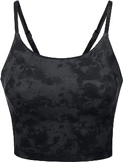 CRZ YOGA Women's Longline Yoga Bra Wirefree Padded Sports Bra for Women Workout Crop Tank Tops