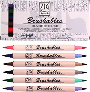 قلم تحديد بطرف مزدوج للفرشاة لنظام ذاكرة ZIG من شركة كيورتاك، فرشاة، عبوة من 6 قطع