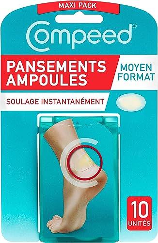 Compeed® - Pansements Ampoules - Moyen Format - 10 Pansements Hydrocolloïdes - Pansement Cicatrisation Rapide qui acc...