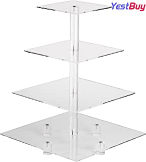 YestBuy 4 Tier Maypole Clear Square Wedding Acrylic Cupcake Display Stand (16.3 Inches) …