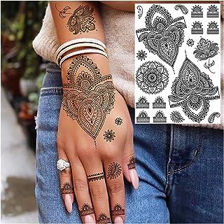 Qqinghan Zwarte Henna Kant Tijdelijke Tattoos Sticker Voor Vrouwen Butterfly Moth Bloem Fake Tatoo Sticker Veer Flora Tato...