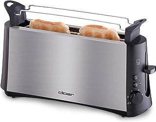 """Cloer 3810 långslitsbrödrost, 880 W för 2 brödskivor med """"Graubrot-funktion"""" för brödrost, brödtillbehör, rostfritt stål"""