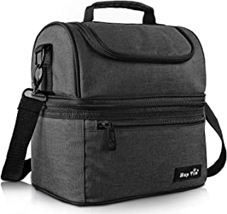 Hap Tim Lunch Box Insulated Lunch Bag Large Cooler Tote Bag for Adult,Men,Women, Double Deck Cooler for Office/Picnic (AE-16040-DG)