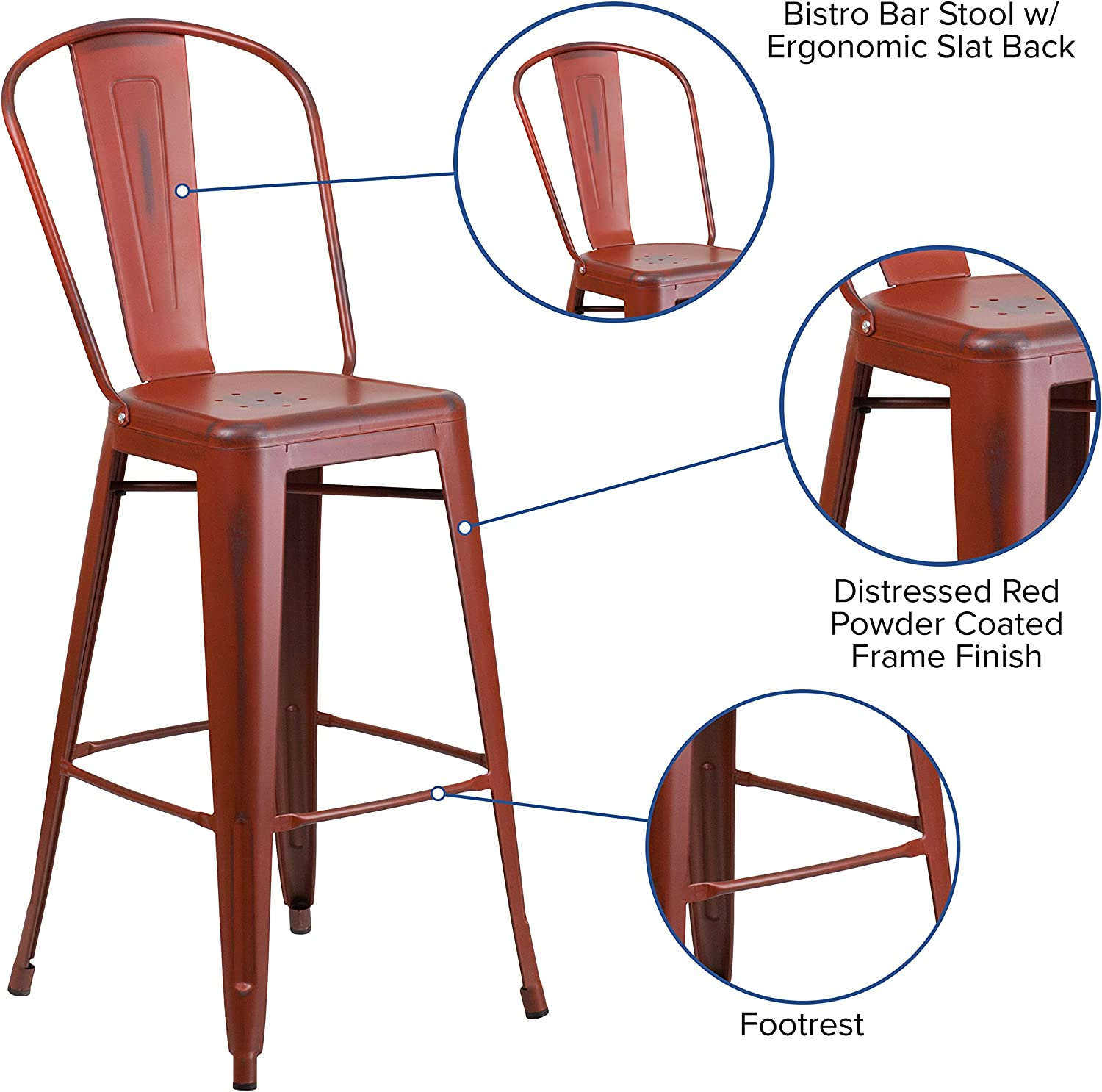 Flash Furniture Commercial Grade 30 High Distressed Kelly Red Metal Indoor-Outdoor Barstool with Back