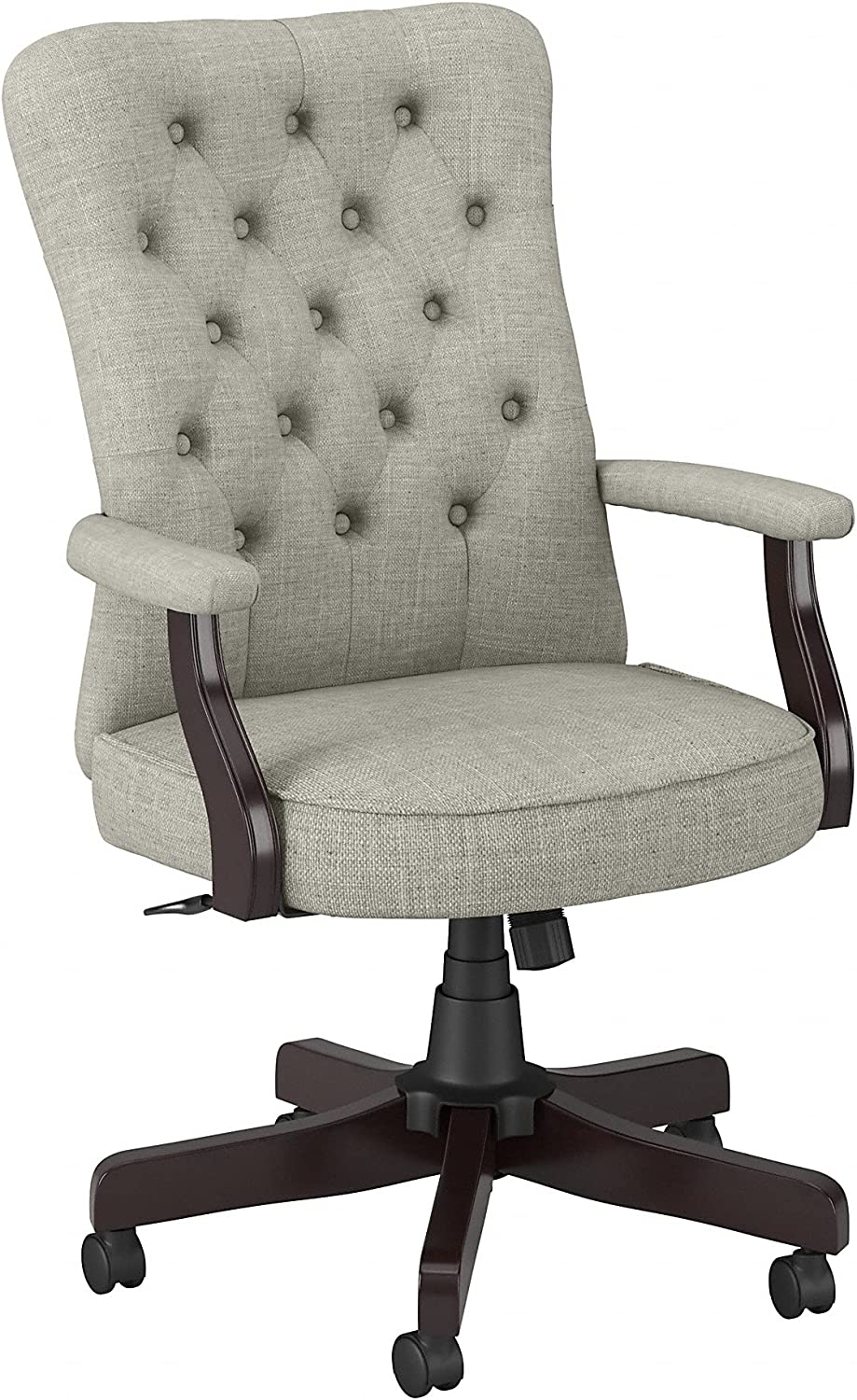 Bush Business Furniture Arden Lane High Back Tufted Office Chair with Arms, Light Gray Fabric