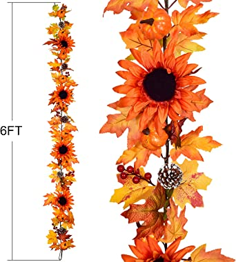 Lvydec 6ft Sunflower Fall Garland Decoration, Autumn Garland with Maple Leaves Pumpkins Pine Cones and 4 Vintage Sunflowers f