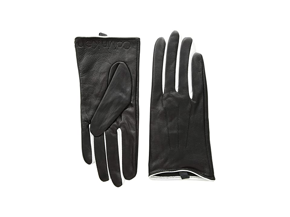 Calvin Klein Leather Gloves w/ Color Pop Debossed Logo (Cream) Extreme Cold Weather Gloves