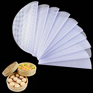10Pcs Round Silicone Steamer Liners ,13inch Non-stick Silicone Steamer Mesh Mat ,Reusable Bamboo Steamer Liner Pad Dim Sum Mesh for Home Kitchen Cooking(10, 13 x 13 inch)