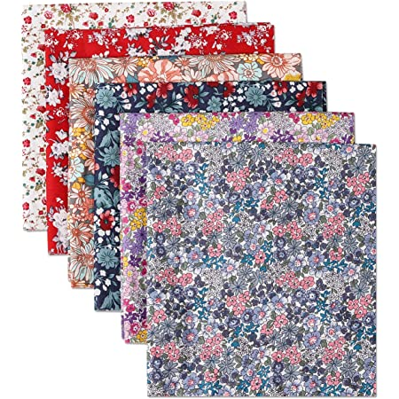 50cm x 40cm 19.6 x 15.7 Quilting Sewing Craft Fabric Bundles Fat Squares Patchwork DIY Sewing Decorative Fabric for Home Upholstery Scrapbook Project Konsait 6pcs Floral Cotton Fabric Patchwork