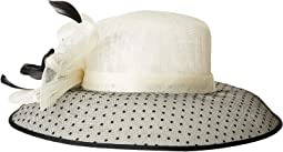 DRS1013 Derby Sinamay Dress Hat with Flocked Dot Brim