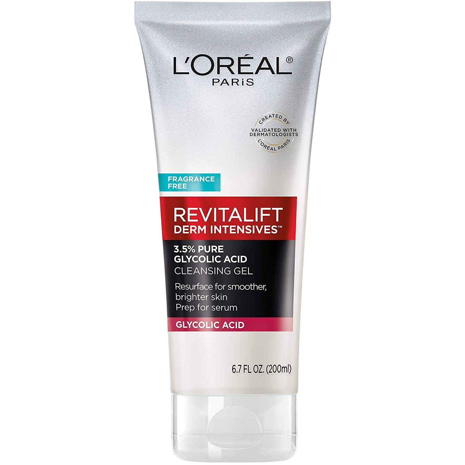 L'Oreal Paris Skincare Revitalift Derm Intensives Gel Cleanser with 3.5% Pure Glycolic Acid, Salicylic Acid to resurface and prep skin for serum, 6.7 fl oz: Beauty