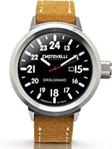 Chotovelli Men's Big Pilot Watch Sapphire Waterproof Italian Leather Band 747.20