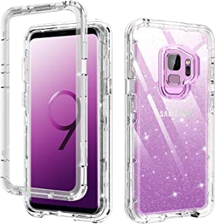 S9 Case Clear,Galaxy S9 Case,DUEDUE Glitter 3 in 1 Shockproof Heavy Duty Drop Protection Hybrid Hard Clear PC Cover Transparent TPU Bumper Full Body Protective Case for Samsung Galaxy S9,Clear/Glitter