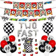 48 Pcs Two Fast Birthday Party Supplies, Racing Car Themed Party Supplies Set - Checkered Pennants Banner, Chequered Flags...