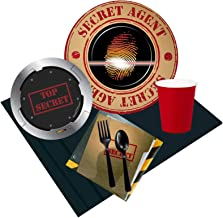 BirthdayExpress Top Secret Spy Party Pack for 16 Guests, Black, One Size